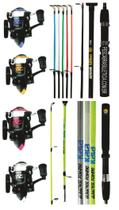 Kit De Pesca Albatroz 5 Molinetes 1000 Com Linha + 5 Varas Kara Maciça De 1,35 Metros 2 Partes Até 5 - Albatroz Fishing