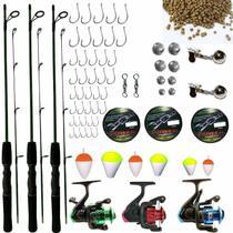 489e2610f Kit De Pesca Completo Suporta 6kg 3 Vara 3 Molinete E Itens