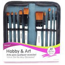 Kit de Pincéis Hobby & Art Sinoart 10 Peças Sintético -