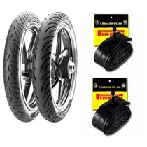 Kit de Pneus 80/100-14 + 60/100-17 TT Pirelli Super City + Camaras de ar BIZ 100/110/125 -