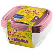 Kit de Potes De Plástico Fácil 3 Peças - Sanremo -
