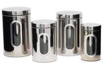 Kit de Potes Herméticos para Mantimentos Inox e com Visor 4 Peças - Winc - Wincy