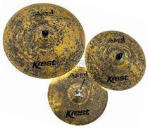 Kit de Pratos Krest Aged Brass Vintage ABSET3 com Chimbal 14, Crash 16, Ride 20 e Bag Grátis -