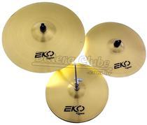 Kit de Pratos Krest Eko ECOSET1 com Chimbal 14, Crash 16 e Ride 20 -