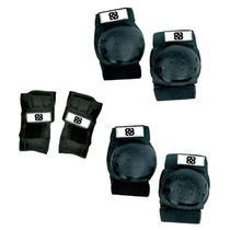Kit De Proteção Bob Burnquist 2 Cotoveleiras + 2 Joelheiras + 2 Luvas Preto Atrio - ES002 -