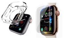 Kit de proteção p/smartwatch pelicula de gel e case 42/44mm -