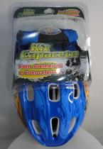 Kit de Proteção para Esporte Com Capacete Joelheira e Cotoveleira - Fênix