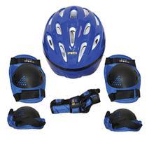 Kit de proteção radical com capacete tam. P azul - Bel Sports -