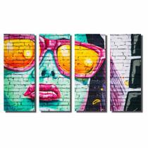 Kit De Quadros Decorativos Arte Em Grafite Mulher Com Óculos - Kiaga