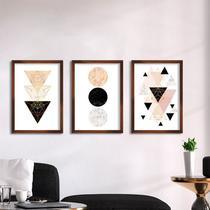 Kit de Quadros Decorativos Geométricos Formas Abstratas - Santo Quadro