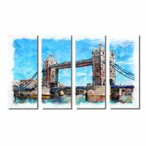 Kit De Quadros Decorativos Pintura Da Ponte De Londres - Kiaga