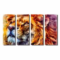 Kit De Quadros Decorativos Pintura Leão Colorido Com Juba - Kiaga
