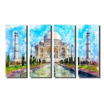 Kit De Quadros Decorativos Pintura Watercolor Taj Mahal - Kiaga