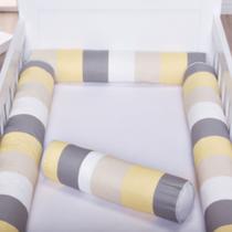 Kit de Rolo 4 Peças Para Berço Americano ou Nacional Rolinho Patchwork Amarelo Unissex - Loja Baby