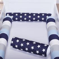 Kit de Rolo 4 Peças Para Berço Americano ou Nacional Rolinho Patchwork Azul Marinho - Loja Baby