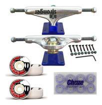 Kit de Skate Truck Stronger Blue 139mm Roda 55mm Rolamento Importado -