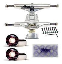 Kit de Skate Truck Stronger Prata 139mm Roda 53mm Rolamento Importado -