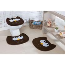 Kit de Tapetes de Banheiro 3 Peças Antiderrapante Coruja - Guga Tapetes