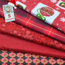 Kit de Tecido Natal Vermelho (30x70) 5 Estampas - Horizonte