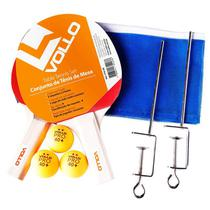 Kit de Tênis de Mesa Vollo com 2 Raquetes, 3 Bolas e Rede VT610-R -
