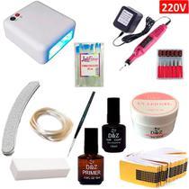 Kit de Unha Gel Acrigel com Cabine 36w 220v + Fibra Cordão DZ Com Fibra Vassourinha - Luliboop