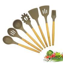 Kit de Utensílio Silicone e Bambu 7 Peças - Cozinha - Happy Compras