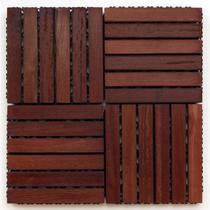 Kit Deck de Madeira Modular Base Plástica Isabela 30cmx30cm com 25 Placas Madeira de Lei Mista - Isabela Revestimentos