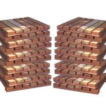 Kit Deck Modular 30cmx30cm com 20 Placas Madeira Eucalipto Isabela Revestimentos Bege -