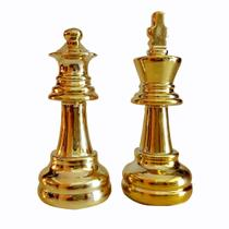 Kit Decor Chess C/2 Peças de Xadrez Rei e Rainha Dourado - Urban