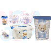 Kit Decora Quarto Do Bebe 6 Peças Urso Ted Azul - Plasutil