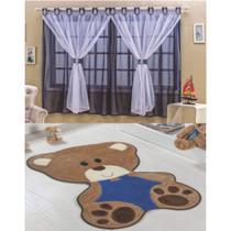 Kit Decoração Bebê Urso p/ Quarto Infantil = Cortina Juvenil 2 Metros + Tapete Pelúcia - Azul Escuro - Casa Scarpa