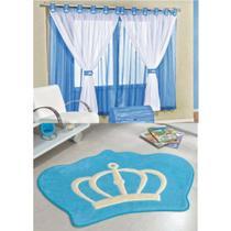 Kit Decoração Coroa Real p/ Quarto Infantil = Cortina Juvenil 2 Metros + Tapete Pelúcia - Azul Turquesa - Guga Tapetes