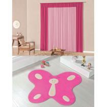 Kit Decoração Luna p/ Quarto Menina = Cortina Malha 2 Metros + Tapete Pelúcia Borboleta- Pink - Casa Scarpa