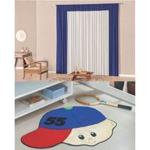 Kit Decoração Lutty p/ Quarto Infantil = Cortina Malha 2 Metros + Tapete Pelúcia Menino Boné - Azul Royal - Casa Scarpa