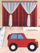 Kit decoração p/ Quarto de Criança = Cortina Filó + Tapete Pelucia Carro Aventura Royal - Casa Show