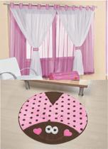 Kit decoração p/ Quarto de Menina = Cortina Juvenil + Tapete Pelucia Joaninha Rosa - Casa Show