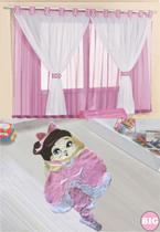 Kit decoração p/ Quarto de Menina = Cortina Malha Juvenil + Tapete Pelucia Big Urso Jully - Rosa - Casa Show Enxovais