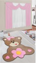 Kit decoração p/ Quarto de Menina = Cortina Paris + Tapete Pelucia Ursa Baby Rosa - Casa Show