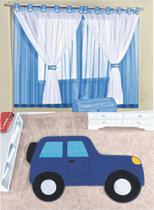 Kit decoração p/ Quarto de Menino = Cortina Juvenil + Tapete Pelucia Carro Aventura Azul - Casa Show