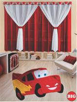 Kit decoração p/ Quarto de Menino = Cortina Malha Filó + Tapete Pelucia Big Carro - Pink - Casa Show