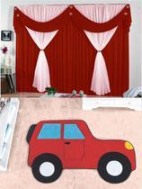 Kit decoração p/ Quarto de Menino = Cortina Malha Jessica + Tapete Pelucia Carro Aventura Vermelho - Casa Show