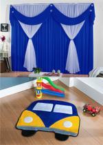 Kit decoração p/ Quarto de Menino = Cortina Malha Jessica + Tapete Pelucia Kombi Royal - Casa Show