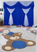 Kit decoração p/ Quarto de Menino = Cortina Malha Jessica + Tapete Pelucia Ursa Baby Royal - Casa Show