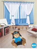 Kit decoração p/ Quarto de Menino = Cortina Malha Juvenil + Tapete Pelucia Big  Aviador - Azul - Casa Show