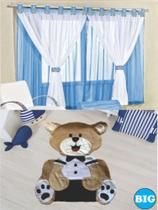 Kit decoração p/ Quarto de Menino = Cortina Malha Juvenil + Tapete Pelucia Big Urso Gravata - Azul - Casa Show