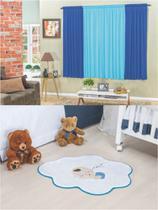 Kit decoração p/ Quarto de Menino = Cortina Malha Petekinha + Tapete Pelucia Bebê Nuvem Azul - Casa Show