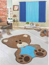 Kit decoração p/ Quarto de Menino = Cortina Malha Petekinha + Tapete Pelucia Bebê Urso Turquesa - Casa Show