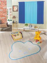 Kit decoração p/ Quarto de Menino = Cortina Malha Petekinha + Tapete Pelucia Nuvem Azul - Casa Show