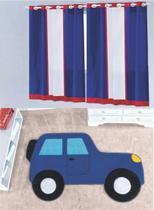 Kit decoração p/ Quarto de Menino = Cortina Marinheiro + Tapete Pelucia Carro Aventura Royal - Casa Show