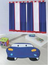 Kit decoração p/ Quarto de Menino = Cortina Marinheiro + Tapete Pelucia Carro Royal - Casa Show